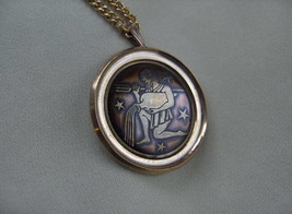Vintage Gold Brass Pendant Zodiac Aquarius,Designer Signed Ekinov RARE - $65.00