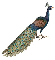 Majestic Hand Painted Feathers Metal Peacock Statue Yard Garden Art,21''H - $136.62