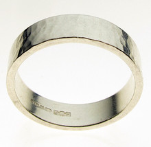 Large Size Sterling Silver Heavy Weight Hammered Ring Flat Profile 6.3 mm Width - $28.10