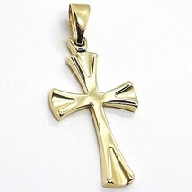 Cross Pendant Yellow Gold 750 18K, Pendant, Rounded Shape Satin Italy Made - $266.93