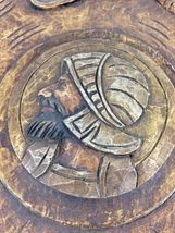 Antique 1900 German black forest carved wood shield medieval knight shop sign image 10