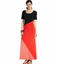 Eci New York Maxi Dress Stretch Pink Black Short-Sleeve Colorblocked Med... - $19.79