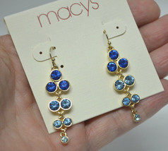 "Macys Gold tone Shades of Blue Cluster Dangle Drop Earrings 2"" NWT - $7.99"