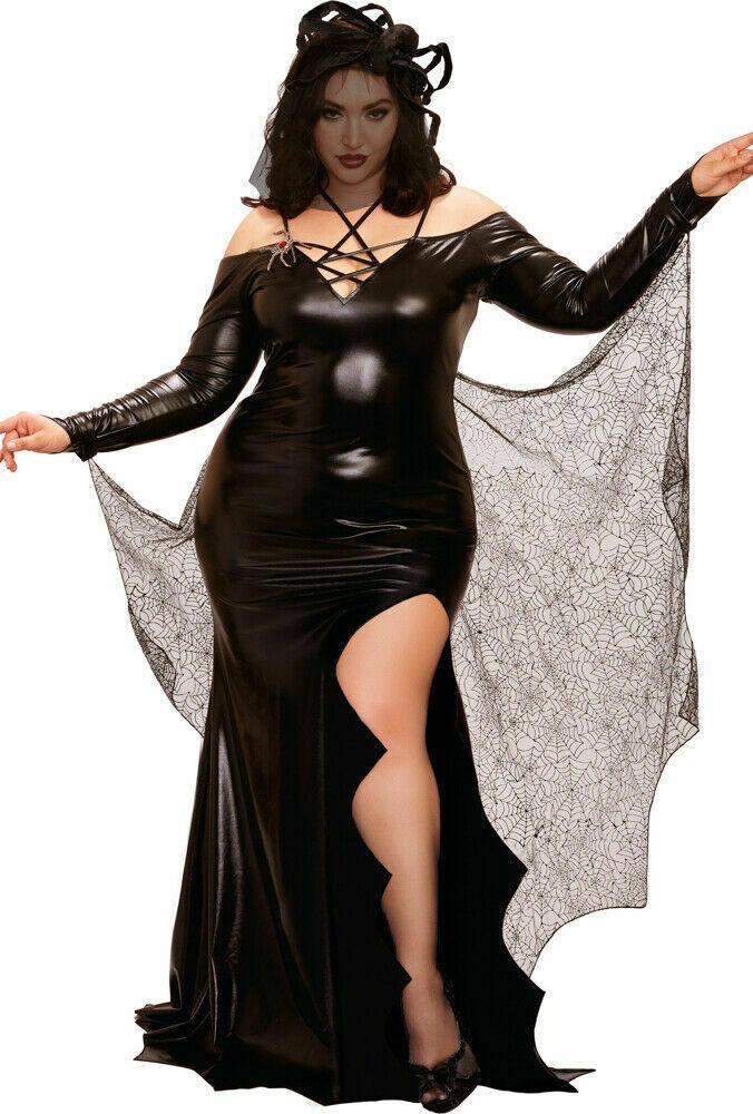 Dreamgirl Black Widow Spider Web Dress Plus Size Womens Halloween Costume 11636X
