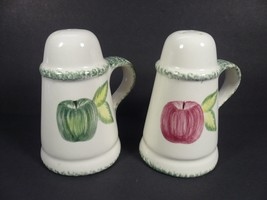 Laurie Gates Los Angeles Pottery Red Green Apple Salt & Pepper Shakers - $18.00