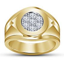 Mens Engagement White Diamond Ring 14k Yellow Gold Finish 925 Sterling S... - £80.99 GBP