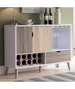 Mid Century Modern Multi Colored Storage Buffet with Tapered Angular Woo... - $363.37