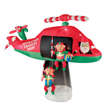 13' Animated Airblown- Santa and Elves in Helicopter Scene - $158.39