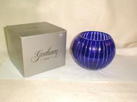 Gorham cobalt stripe crystal rose bowl MIB Glass Blue Pretty - $35.00