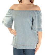 Lauren Ralph Lauren Womens Chambray Off The-Shoulder Pullover Top Blue L... - $23.14