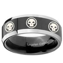 8mm Bevel 2 Tone Multiple Skull Logo Shiny Black Middle Tungsten Ring Sz... - $39.99
