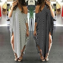 New Women Loose Long Dress Striped Batwing Sleeve Off-shoulder Split Asymmetric