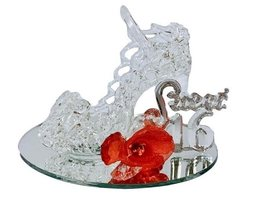 Sweet 16 Birthday Party Glass Shoe Favor with Red Flower - $10.97