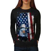 Eagle Cowboy Hat Flag USA Tee Eagle Flag Women Long Sleeve T-shirt - $14.99