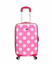 Luggage 20 Inch Polycarbonate Carry On Spinner Suitcase Travel Pink Dot ... - $78.58