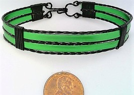 Green Anodized Aluminum Black Copper Wire Wrap Bracelet 10 - $19.99