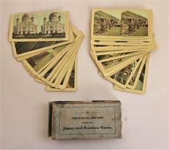 antique BOX SET of 48 STEREOVIEWS photocolortype JAPAN and RUSSIAN w BOX - $225.00