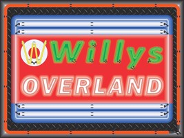 WILLYS OVERLAND DEALER STYLE NEON EFFECT PRINTED BANNER SIGN ART 4' X 3' - $53.96