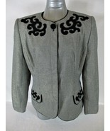 EXECUTIVE COLLECTION womens Sz 14 L/S black white VELVET accents jacket ... - $49.88