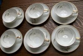 Royal Ceramics RC Japan Gold & Black Swirl & Pink Floral Cup/Saucer Sets... - $44.33
