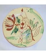 "1994 Breininger Redware 7"" Plate Yellow w/ Sgraffito Distelfink Perched ... - $70.00"