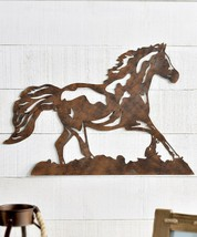 """Rustic Brown Horse 25.5"""" Long Cut Out Metal Wall Decor Wild Horse Western Gift"""