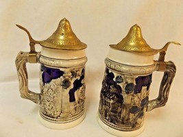Vintage Beer Stein Lot of 2  Lidded  Men at Table Drinking  Made in Japan - $19.99