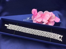 AUTHENTIC SWAN SIGNED SWAROVSKI DIAMANTA BRACELET 1808172 NIB WEDDING BR... - $149.00