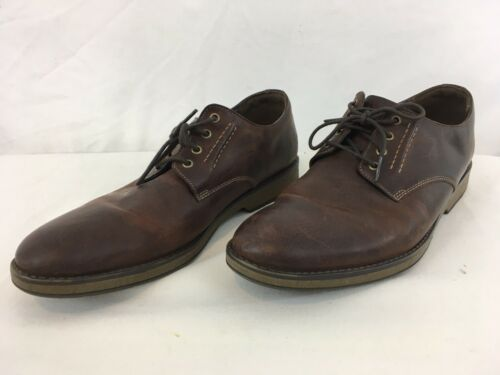 Primary image for  Clarks Hinman Plain Mahogany Mens 12 Brown Leather Casual Oxford Shoes