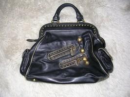 Betsey Johnson Rockin Cherries Black Leather Handbag Purse VINTAGE - $296.01