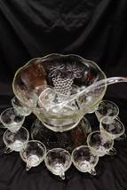 Vintage Anchor Hocking Punch Bowl Set Grapevine Service for 12  600/75A - $69.88
