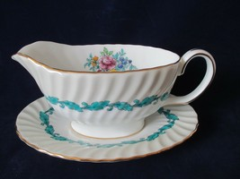 Minton Ardmore Ivory Rim Turquoise Floral Swirl Gravy Boat Detached Under Plate - $145.00