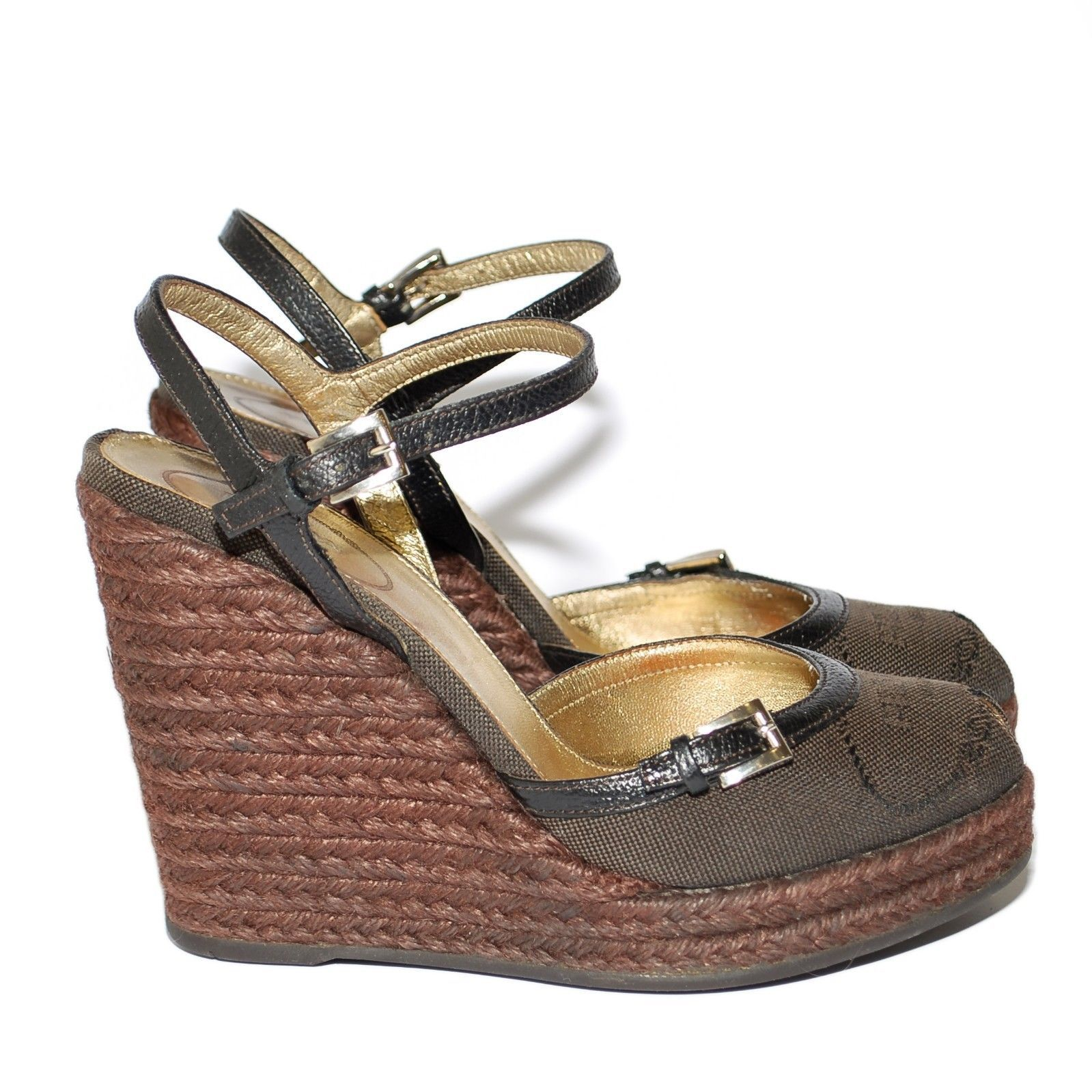 5eab3da529a PRADA Brown Canvas High Wedge Espadrille and 50 similar items