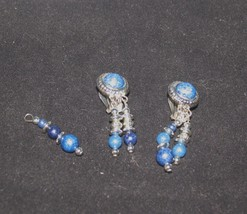 VINTAGE COSTUME JEWELRY CLIP ON EARRINGS DANGLE BLUE AND SILVER - $12.38