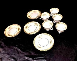 Noritake China - Tea Cups and Dessert Plates AA18 - 1177   9 Piece Vintage