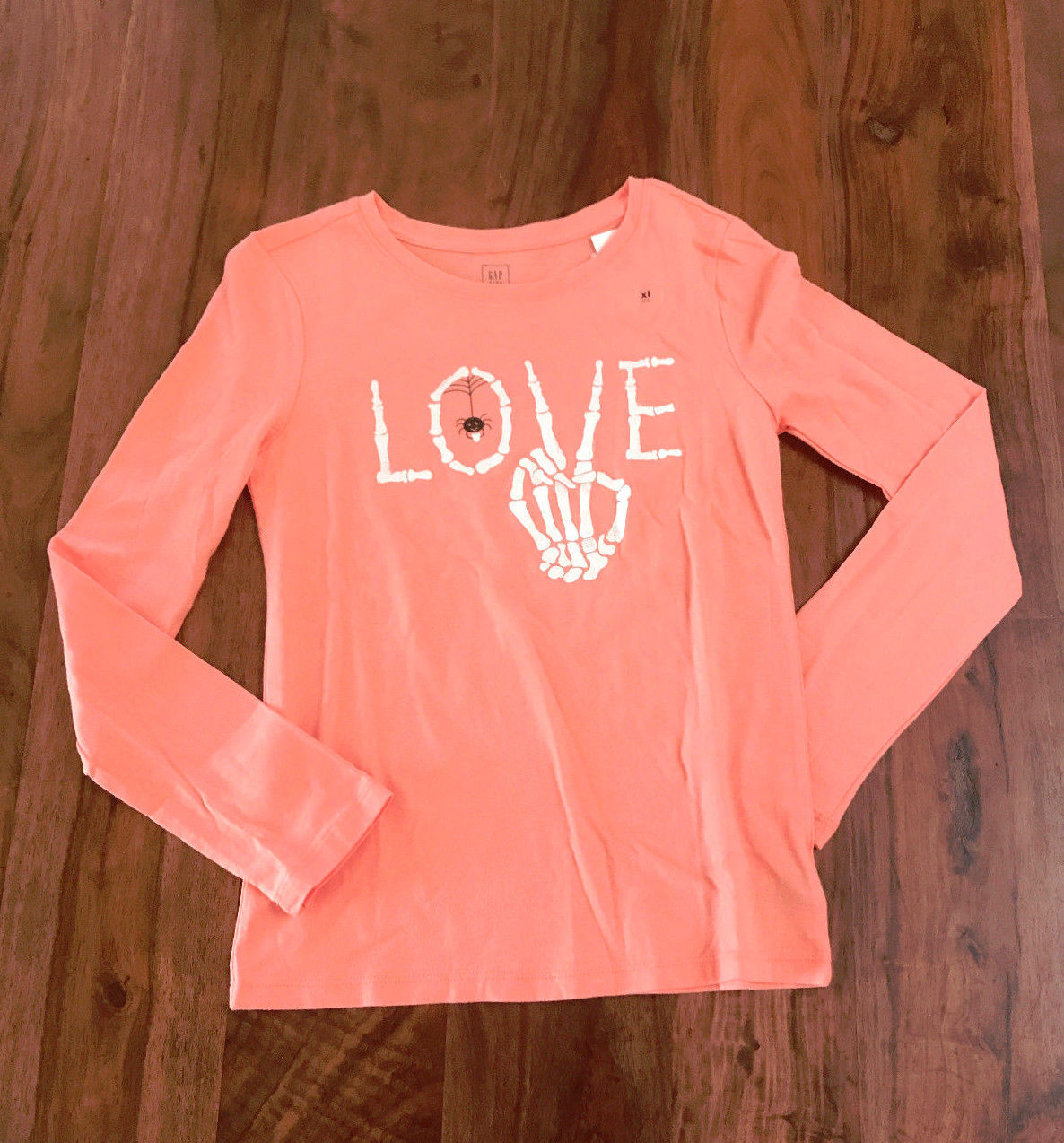 Gap Kids Girls Tee Shirt 12 14 16 Orange Long Sleeve Crew Neck LOVE Graphic New