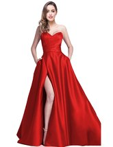 Women's 2018 Sexy Strapless Satin Evening Dresses With Pockect Long Form... - $108.99