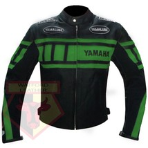 YAMAHA 0120 GREEN MOTORCYCLE MOTORBIKE BIKERS ARMOURED COWHIDE LEATHER J... - $194.99