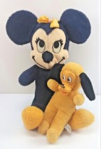 Vintage Minnie Mouse Walt Disney 1960 California Stuffed & Pluto Plush Japan OLD - $36.59