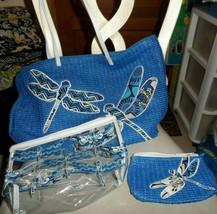 Vera Bradley Blue Bayou dargonfly beach straw tote ,clear cosmetic, smal... - $68.00
