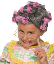 Old Lady In Curlers Child Wig Auntie Funny Gray Hair Woman Granny - $16.40