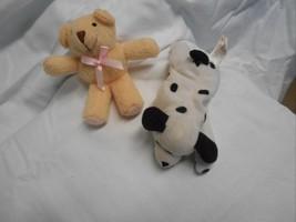 """Ty Beanie Babies Dalmatian 2 pc 4"""" Dalmatian and Bear beige  cute - $5.50"""