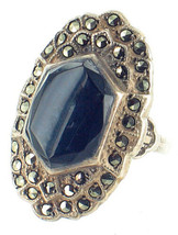 Antique Sterling Art Deco Marcasite Onyx Oval Statement Ring  Pretty! Si... - $143.99