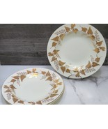 "Set of 4 Wedgwood Gold Napoleon Ivy Rimmed Soup Bowls 9"" Pattern 4135 - $79.20"