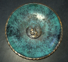 Israel Vintage Bronze Verdigris Tray Plate 1960's Isaiah 11 Signed Pal Bell