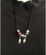Purple Crystal Euro Bead Necklace 20in, Handmade, Gift Idea, Beautiful S... - $19.99