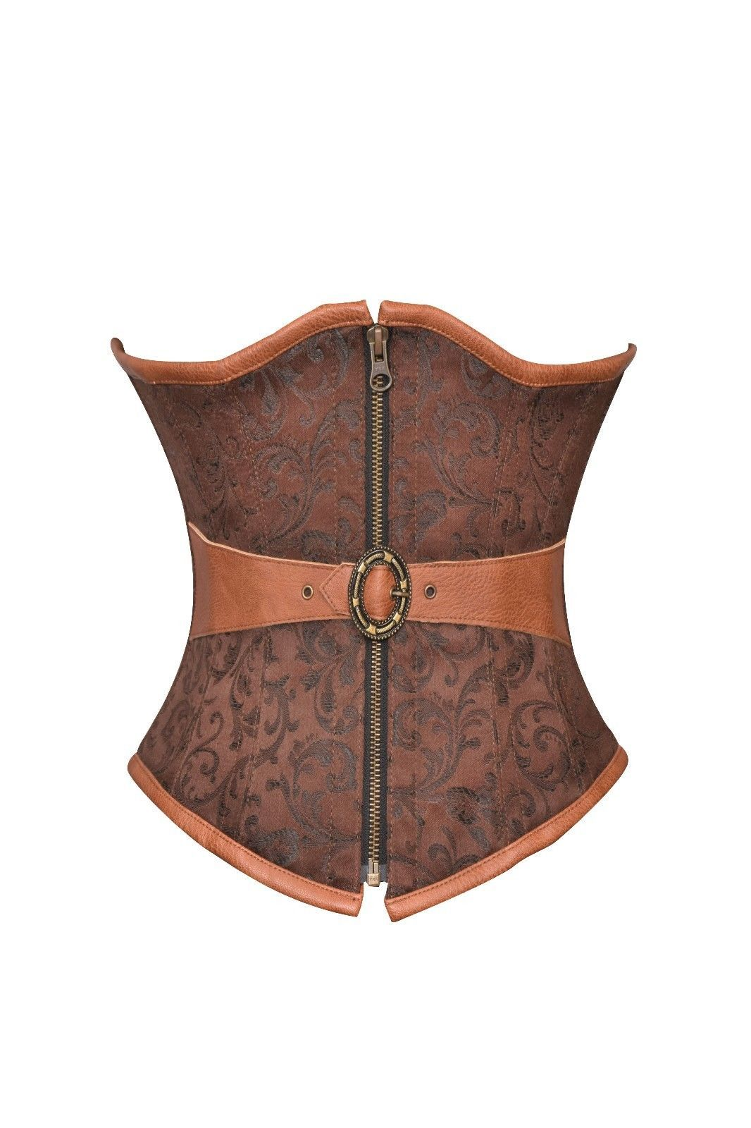 Brown Brocade & Leather Belt Goth Steampunk Waist Training Underbust Corset Top