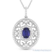 1.33ct Oval Cut Blue Lab Sapphire & Diamond 14k White Gold Antique-Style Pendant - $772.19