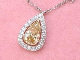 ART DECO 1.45ct FANCY YELLOW-BROWN PEAR DIAMOND HALO SOLITAIRE CHOKER NE... - $8,988.21