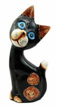 Balinese Wood Handicrafts Adorable Dazed Blue Eyed Feline Cat Figurine 7... - $19.99